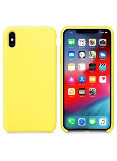 Microsonic Apple iPhone X Kılıf Liquid Lansman Silikon Güneş Sarısı Sarı